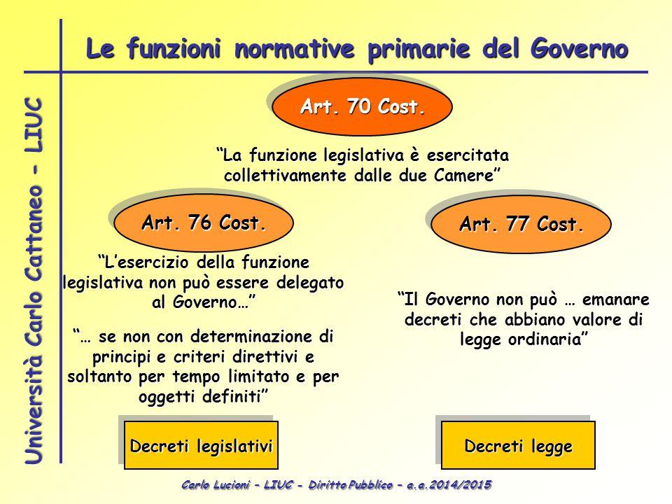 """Carlo Lucioni – LIUC - Diritto Pubblico – a.a.2014/2015 Università Carlo Cattaneo - LIUC Art. 70 Cost. """"La funzione legislativa è esercitata collettiv"""