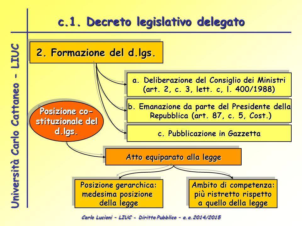 Carlo Lucioni – LIUC - Diritto Pubblico – a.a.2014/2015 Università Carlo Cattaneo - LIUC 2. Formazione del d.lgs. a.Deliberazione del Consiglio dei Mi