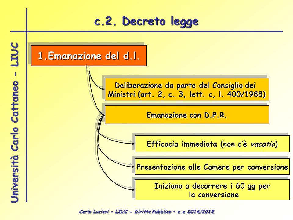 Carlo Lucioni – LIUC - Diritto Pubblico – a.a.2014/2015 Università Carlo Cattaneo - LIUC 1.Emanazione del d.l. Deliberazione da parte del Consiglio de