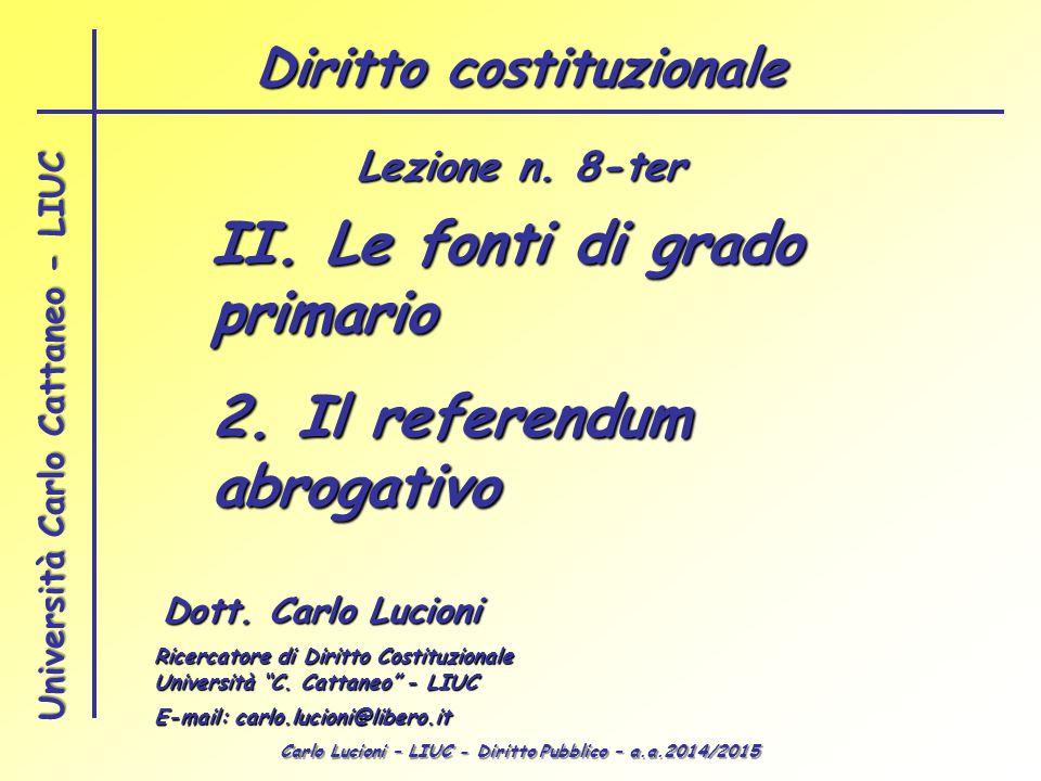 Carlo Lucioni – LIUC - Diritto Pubblico – a.a.2014/2015 Università Carlo Cattaneo - LIUC II. Le fonti di grado primario 2. Il referendum abrogativo Do