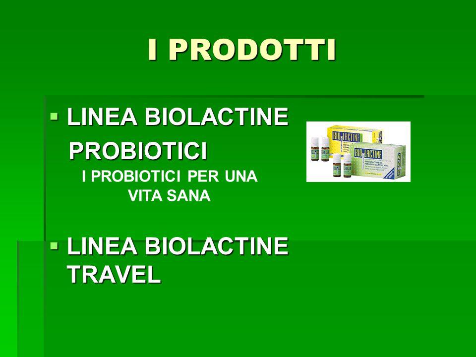 I PRODOTTI  LINEA BIOLACTINE PROBIOTICI PROBIOTICI  LINEA BIOLACTINE TRAVEL I PROBIOTICI PER UNA VITA SANA