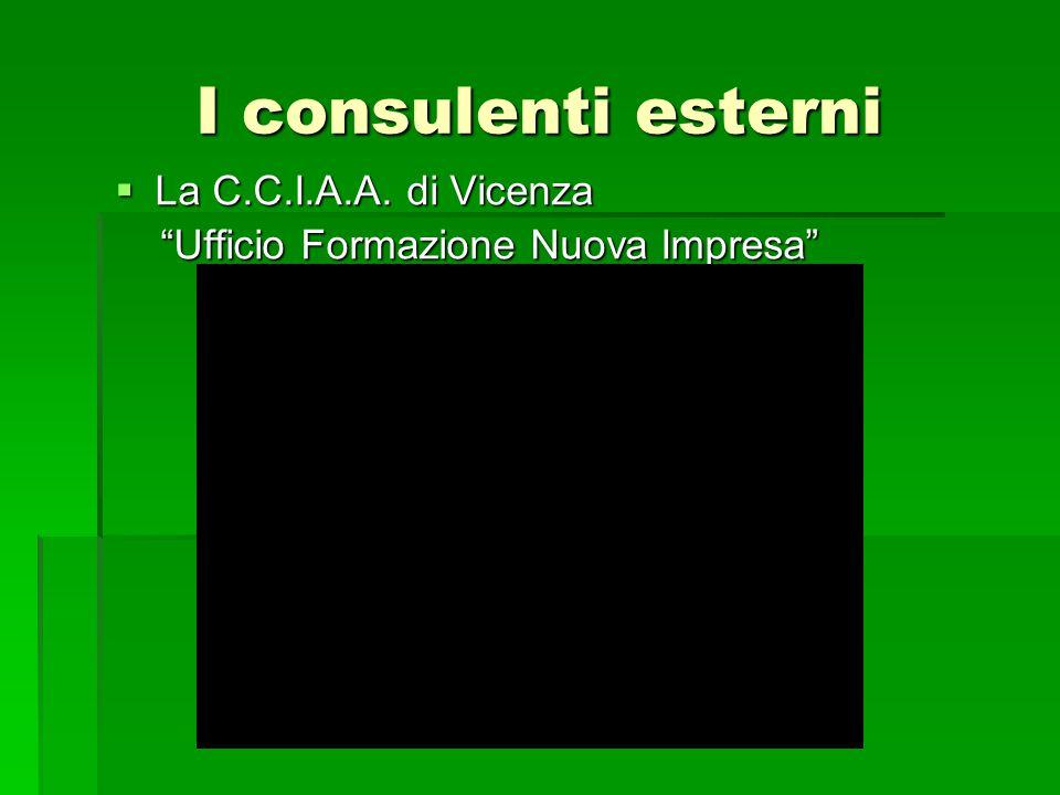"""I consulenti esterni  La C.C.I.A.A. di Vicenza """"Ufficio Formazione Nuova Impresa"""" """"Ufficio Formazione Nuova Impresa"""""""