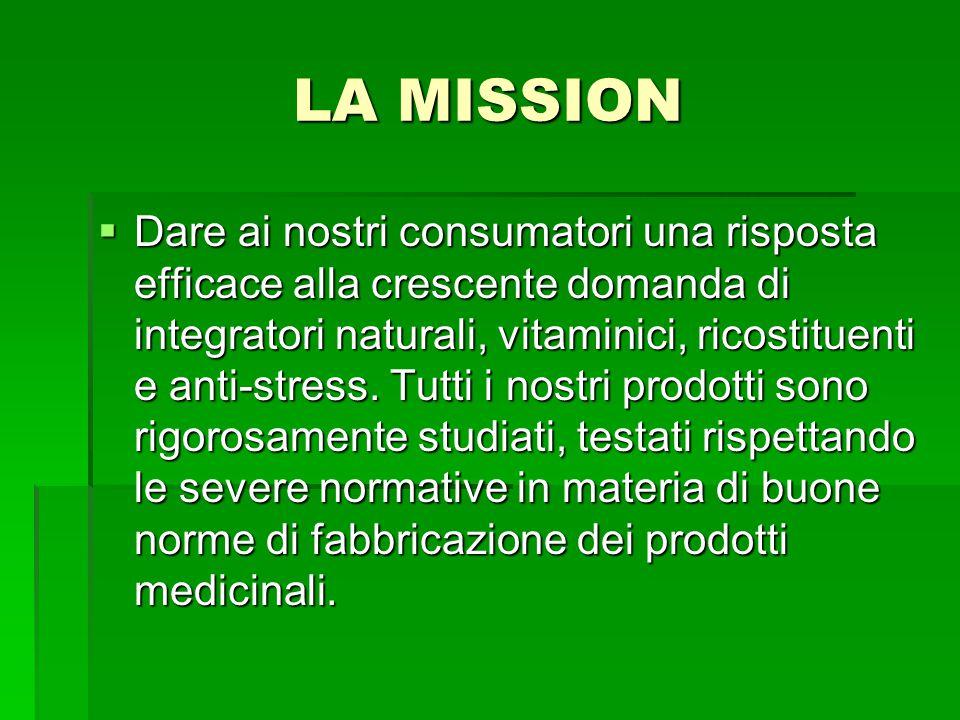 LA MISSION  Dare ai nostri consumatori una risposta efficace alla crescente domanda di integratori naturali, vitaminici, ricostituenti e anti-stress.