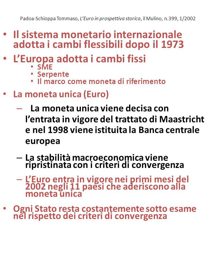Padoa-Schioppa Tommaso, L'Euro in prospettiva storica, il Mulino, n.399, 1/2002 Il sistema monetario internazionale adotta i cambi flessibili dopo il 1973 L'Europa adotta i cambi fissi SME Serpente Il marco come moneta di riferimento La moneta unica (Euro) – La moneta unica viene decisa con l'entrata in vigore del trattato di Maastricht e nel 1998 viene istituita la Banca centrale europea – La stabilità macroeconomica viene ripristinata con i criteri di convergenza – L'Euro entra in vigore nei primi mesi del 2002 negli 11 paesi che aderiscono alla moneta unica Ogni Stato resta costantemente sotto esame nel rispetto dei criteri di convergenza
