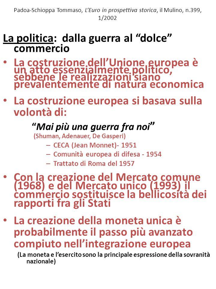Padoa-Schioppa Tommaso, L'Euro in prospettiva storica, il Mulino, n.399, 1/2002 La politica: dalla guerra al dolce commercio La costruzione dell'Unione europea è un atto essenzialmente politico, sebbene le realizzazioni siano prevalentemente di natura economica La costruzione europea si basava sulla volontà di: Mai più una guerra fra noi (Shuman, Adenauer, De Gasperi) – CECA (Jean Monnet)- 1951 – Comunità europea di difesa - 1954 – Trattato di Roma del 1957 Con la creazione del Mercato comune (1968) e del Mercato unico (1993) il commercio sostituisce la bellicosità dei rapporti fra gli Stati La creazione della moneta unica è probabilmente il passo più avanzato compiuto nell'integrazione europea (La moneta e l'esercito sono la principale espressione della sovranità nazionale)