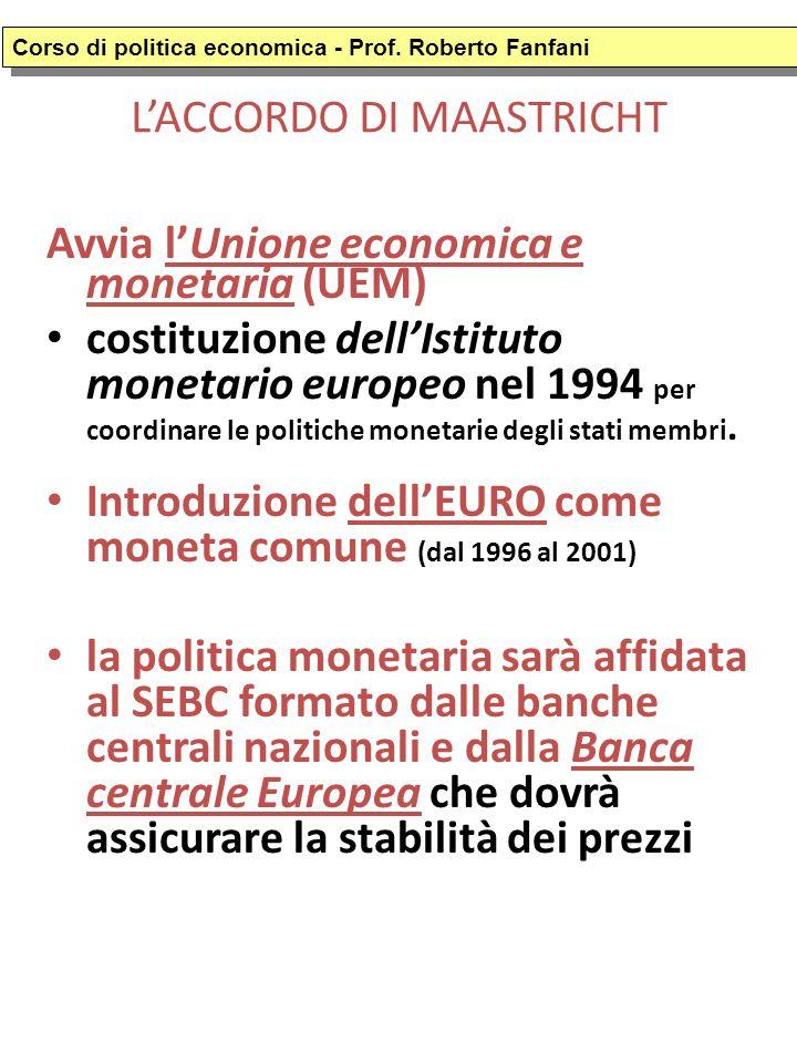 L'ACCORDO DI MAASTRICHT Avvia l'Unione economica e monetaria (UEM) costituzione dell'Istituto monetario europeo nel 1994 per coordinare le politiche monetarie degli stati membri.