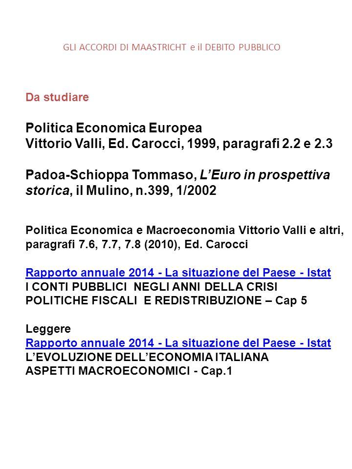 GLI ACCORDI DI MAASTRICHT e il DEBITO PUBBLICO Da studiare Politica Economica Europea Vittorio Valli, Ed.