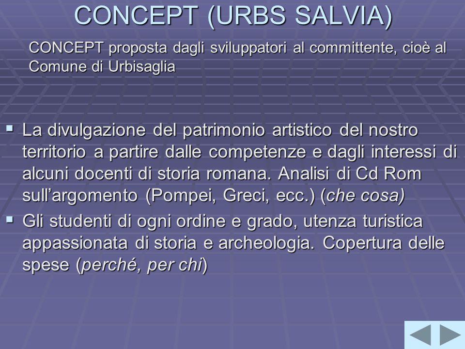 CONCEPT (URBS SALVIA)  La divulgazione del patrimonio artistico del nostro territorio a partire dalle competenze e dagli interessi di alcuni docenti di storia romana.