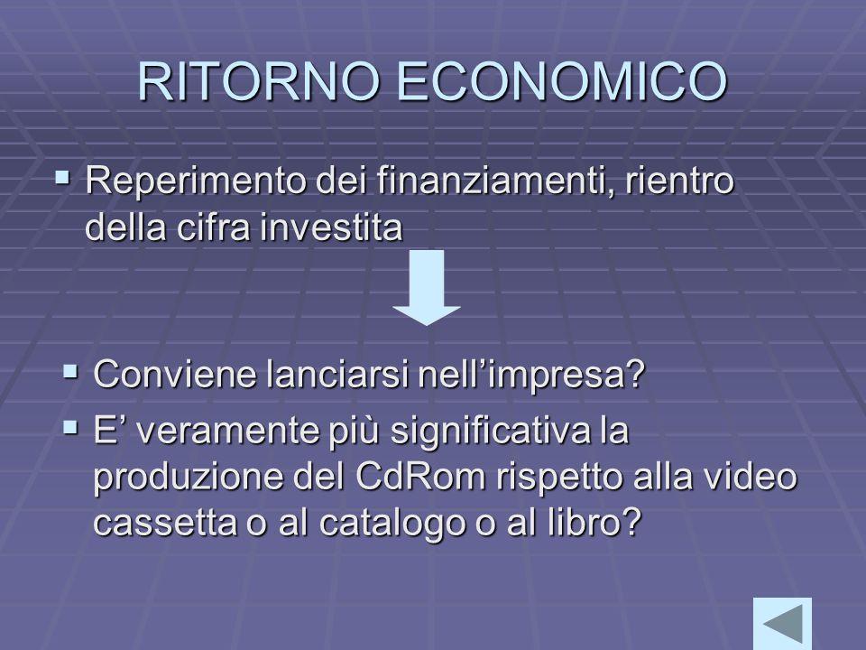 RITORNO ECONOMICO  Reperimento dei finanziamenti, rientro della cifra investita  Conviene lanciarsi nell'impresa.