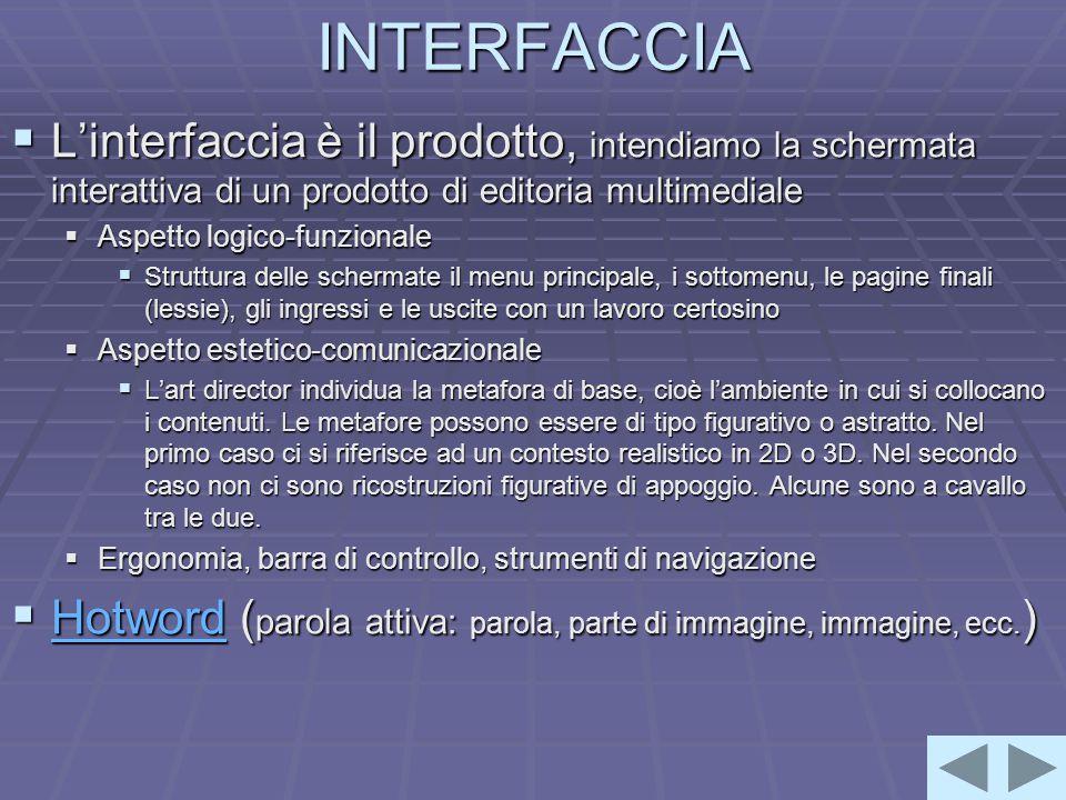 INTERFACCIA  L'interfaccia è il prodotto, intendiamo la schermata interattiva di un prodotto di editoria multimediale  Aspetto logico-funzionale  Struttura delle schermate il menu principale, i sottomenu, le pagine finali (lessie), gli ingressi e le uscite con un lavoro certosino  Aspetto estetico-comunicazionale  L'art director individua la metafora di base, cioè l'ambiente in cui si collocano i contenuti.