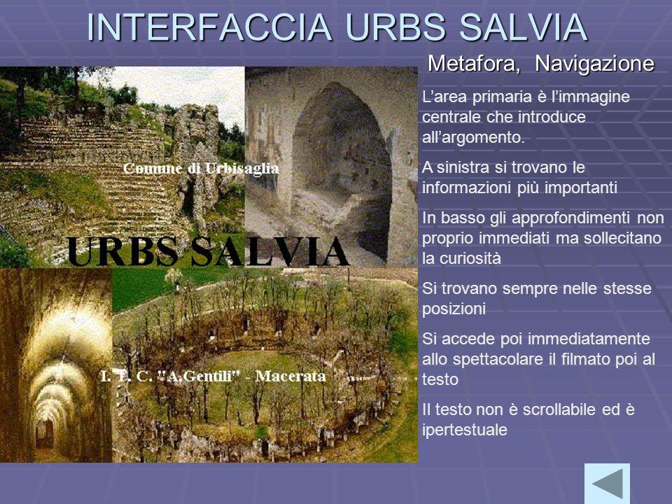 INTERFACCIA URBS SALVIA Metafora, Navigazione L'area primaria è l'immagine centrale che introduce all'argomento.