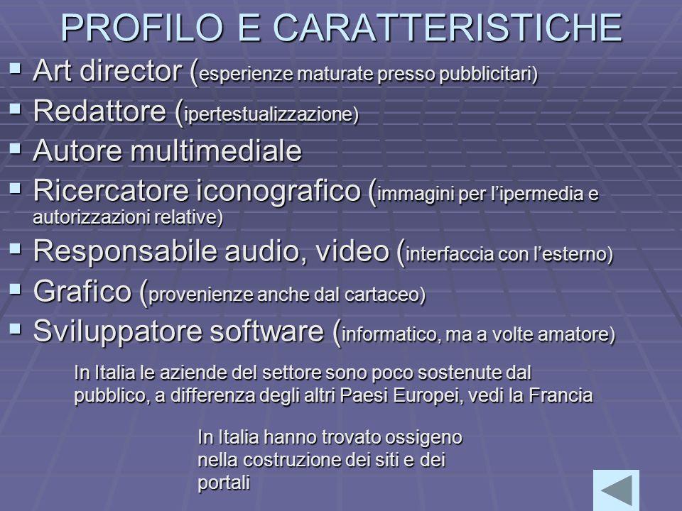 PROFILO E CARATTERISTICHE  Art director ( esperienze maturate presso pubblicitari)  Redattore ( ipertestualizzazione)  Autore multimediale  Ricercatore iconografico ( immagini per l'ipermedia e autorizzazioni relative)  Responsabile audio, video ( interfaccia con l'esterno)  Grafico ( provenienze anche dal cartaceo)  Sviluppatore software ( informatico, ma a volte amatore) In Italia le aziende del settore sono poco sostenute dal pubblico, a differenza degli altri Paesi Europei, vedi la Francia In Italia hanno trovato ossigeno nella costruzione dei siti e dei portali