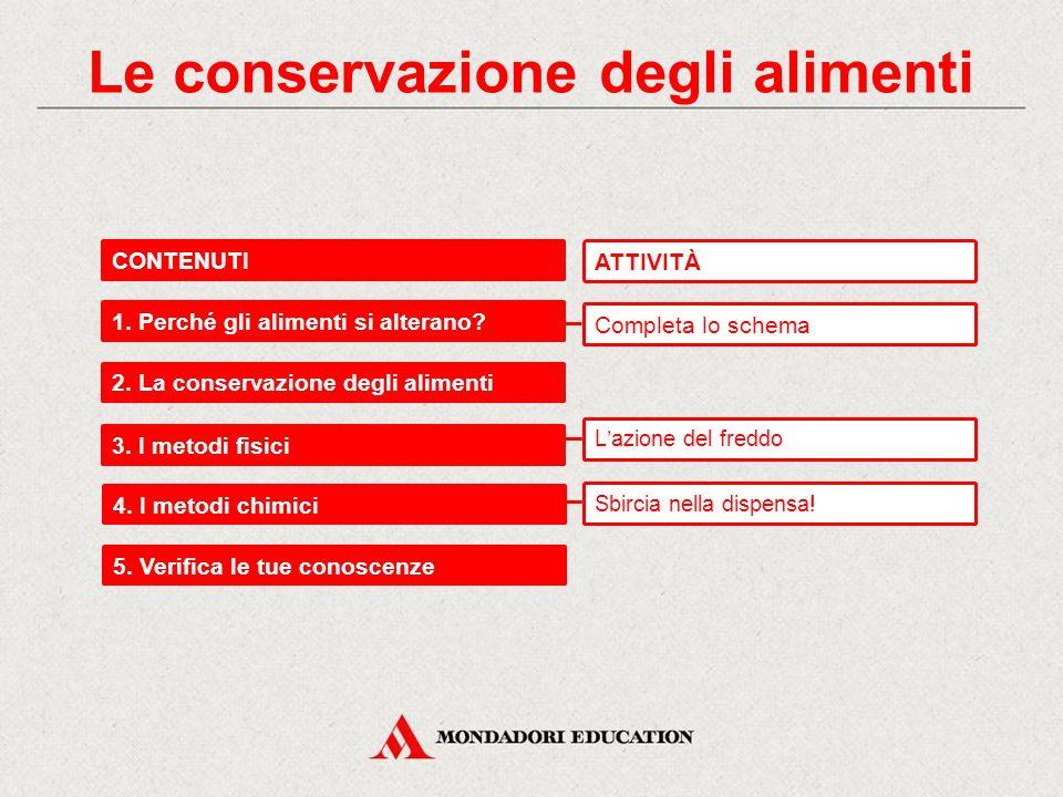Le conservazione degli alimenti CONTENUTI 1.Perché gli alimenti si alterano.