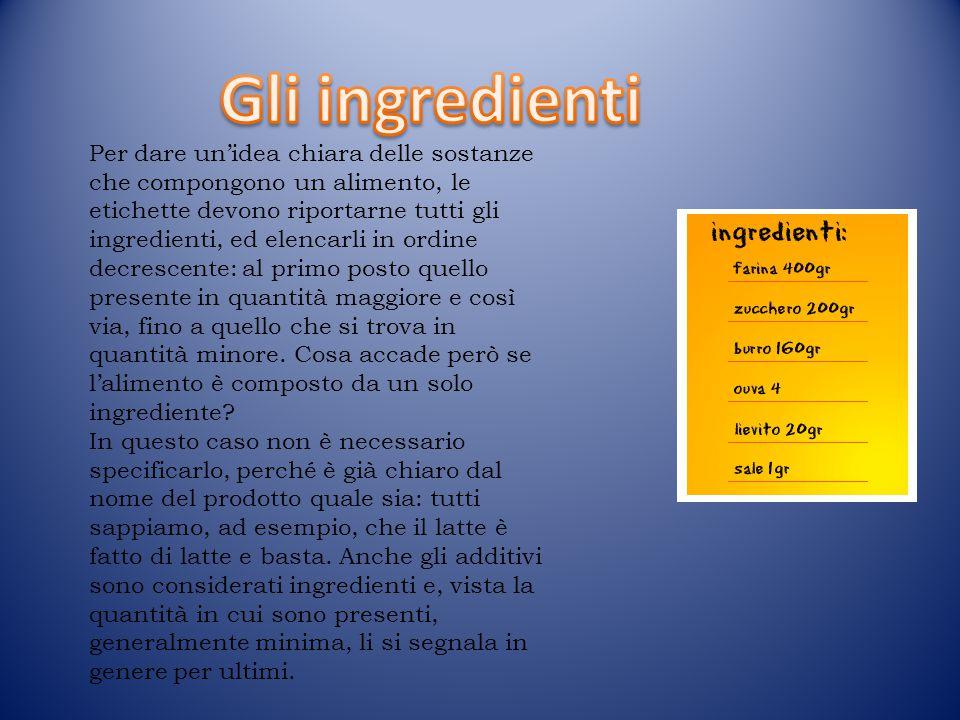 Per dare un'idea chiara delle sostanze che compongono un alimento, le etichette devono riportarne tutti gli ingredienti, ed elencarli in ordine decres