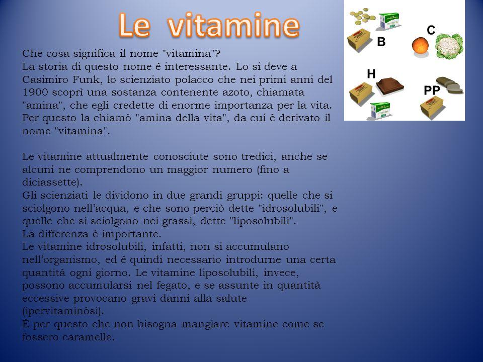 Che cosa significa il nome vitamina .La storia di questo nome è interessante.