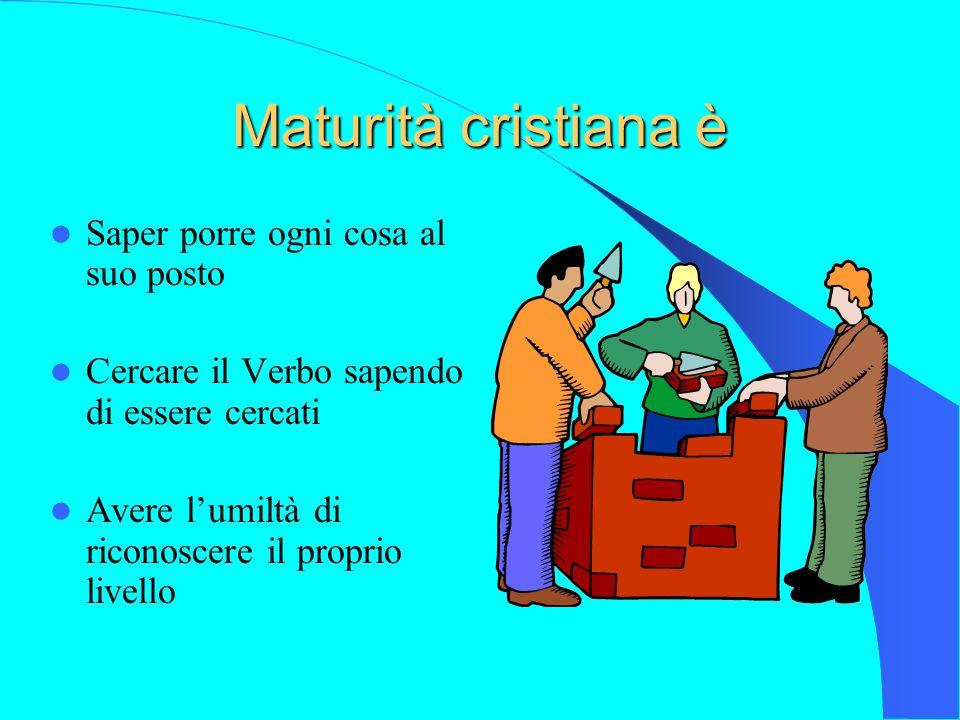 Maturità cristiana è Saper porre ogni cosa al suo posto Cercare il Verbo sapendo di essere cercati Avere l'umiltà di riconoscere il proprio livello