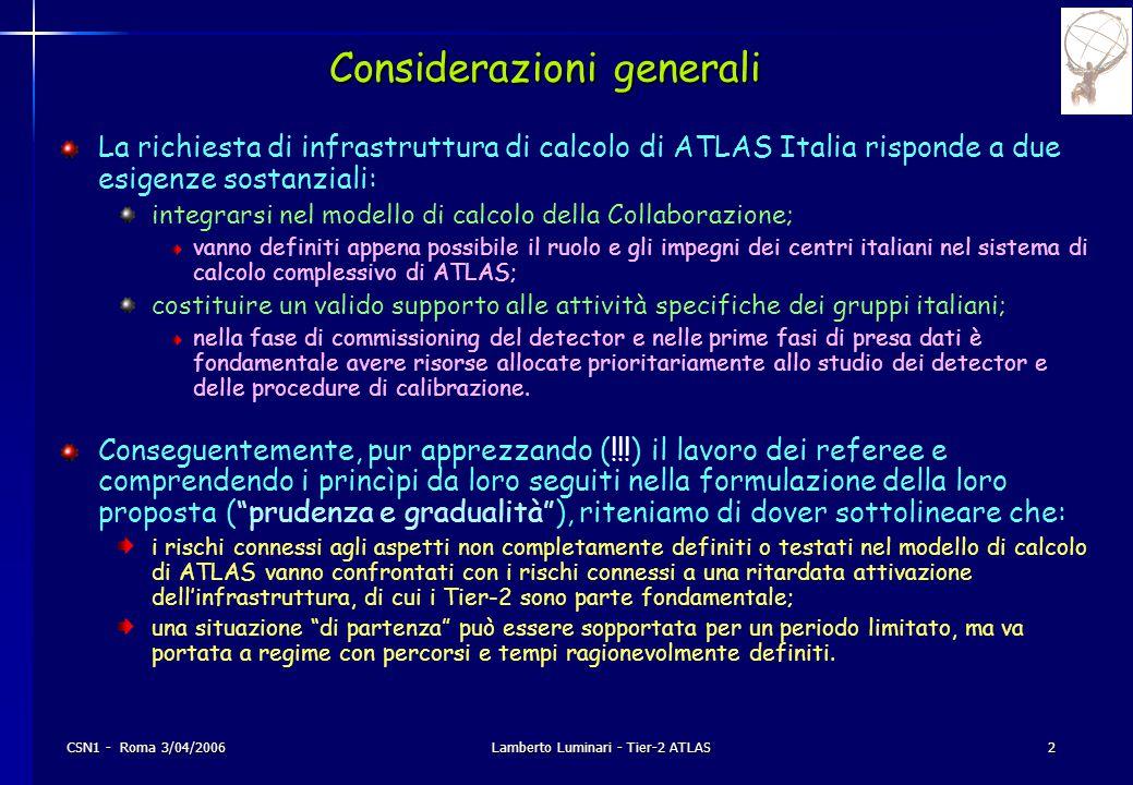 CSN1 - Roma 3/04/2006Lamberto Luminari - Tier-2 ATLAS2 Considerazioni generali La richiesta di infrastruttura di calcolo di ATLAS Italia risponde a due esigenze sostanziali: integrarsi nel modello di calcolo della Collaborazione; vanno definiti appena possibile il ruolo e gli impegni dei centri italiani nel sistema di calcolo complessivo di ATLAS; costituire un valido supporto alle attività specifiche dei gruppi italiani; nella fase di commissioning del detector e nelle prime fasi di presa dati è fondamentale avere risorse allocate prioritariamente allo studio dei detector e delle procedure di calibrazione.