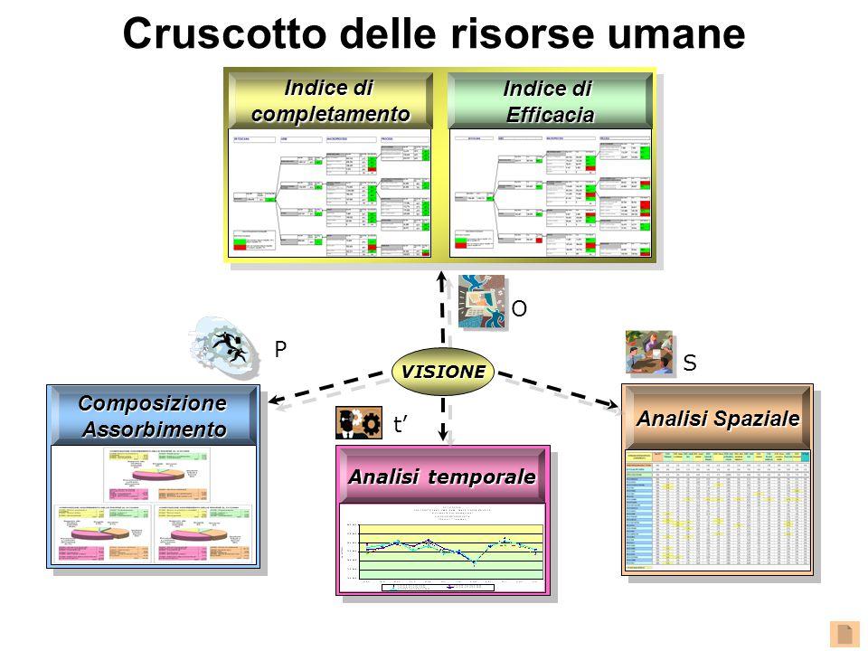Analisi temporale ComposizioneAssorbimento Analisi Spaziale Indice di completamento Efficacia O t' S P VISIONE Cruscotto delle risorse umane