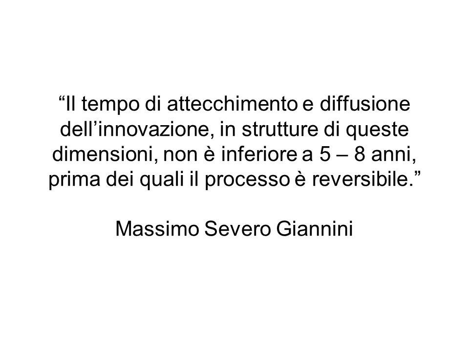 Il tempo di attecchimento e diffusione dell'innovazione, in strutture di queste dimensioni, non è inferiore a 5 – 8 anni, prima dei quali il processo è reversibile. Massimo Severo Giannini