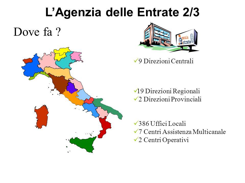 19 Direzioni Regionali 2 Direzioni Provinciali 386 Uffici Locali 7 Centri Assistenza Multicanale 2 Centri Operativi 9 Direzioni Centrali Dove fa .