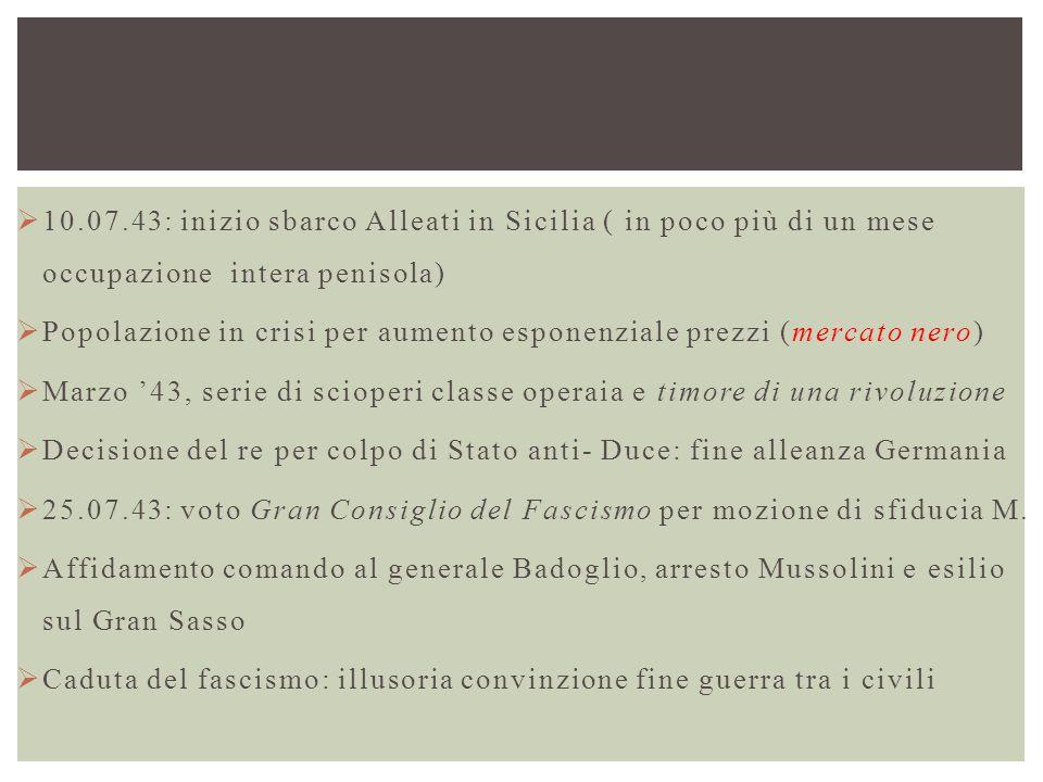  10.07.43: inizio sbarco Alleati in Sicilia ( in poco più di un mese occupazione intera penisola)  Popolazione in crisi per aumento esponenziale pre