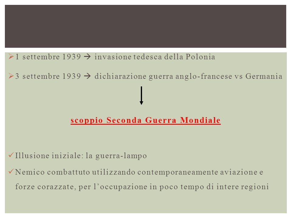  1 settembre 1939  invasione tedesca della Polonia  3 settembre 1939  dichiarazione guerra anglo-francese vs Germania scoppio Seconda Guerra Mondi