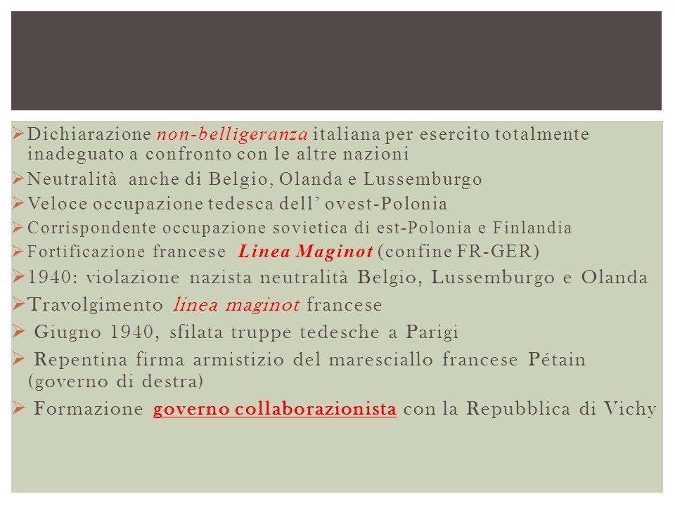  Dichiarazione non-belligeranza italiana per esercito totalmente inadeguato a confronto con le altre nazioni  Neutralità anche di Belgio, Olanda e L