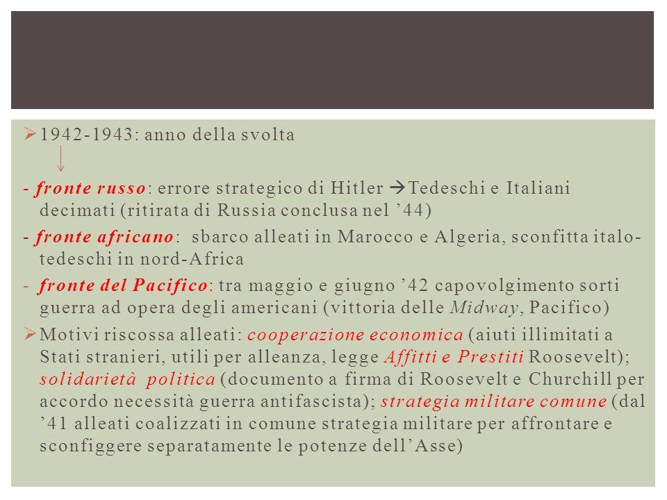  1942-1943: anno della svolta - fronte russo: errore strategico di Hitler  Tedeschi e Italiani decimati (ritirata di Russia conclusa nel '44) - fron