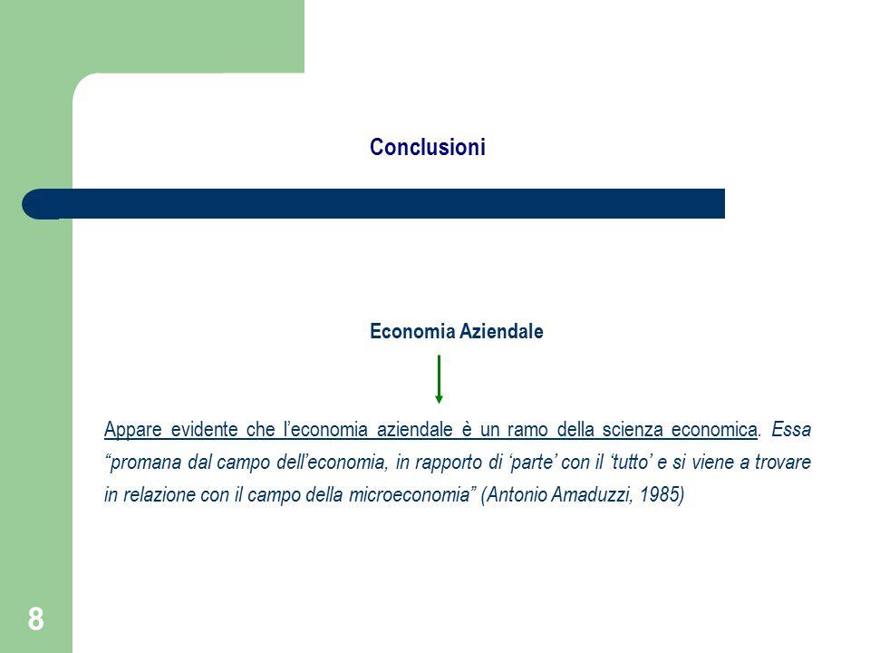 8 Economia Aziendale Appare evidente che l'economia aziendale è un ramo della scienza economica.