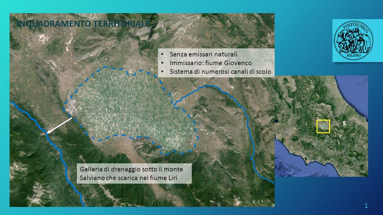 1 Altopiano della Marsica (AQ) Bacino idrografico del Liri-Garigliano Piana del Fucino Senza emissari naturali Immissario: fiume Giovenco Sistema di n