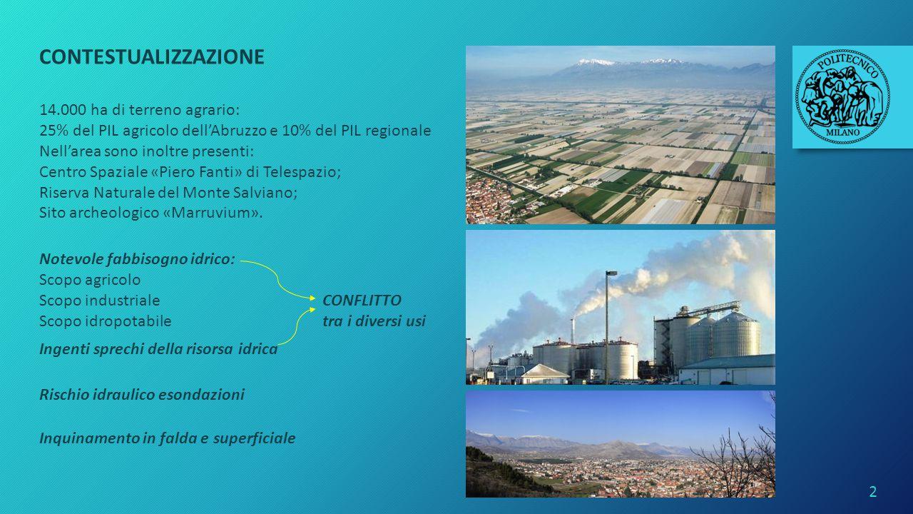 CONTESTUALIZZAZIONE 14.000 ha di terreno agrario: 25% del PIL agricolo dell'Abruzzo e 10% del PIL regionale Nell'area sono inoltre presenti: Centro Sp