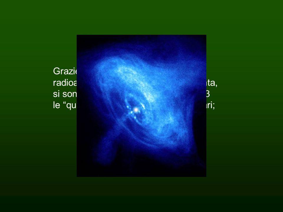"""Grazie alle osservazioni radioastronomiche degli anni Sessanta, si sono fatti grandi scoperte: nel 1963 le """"quasar"""" sorgenti radio quasi stellari;"""