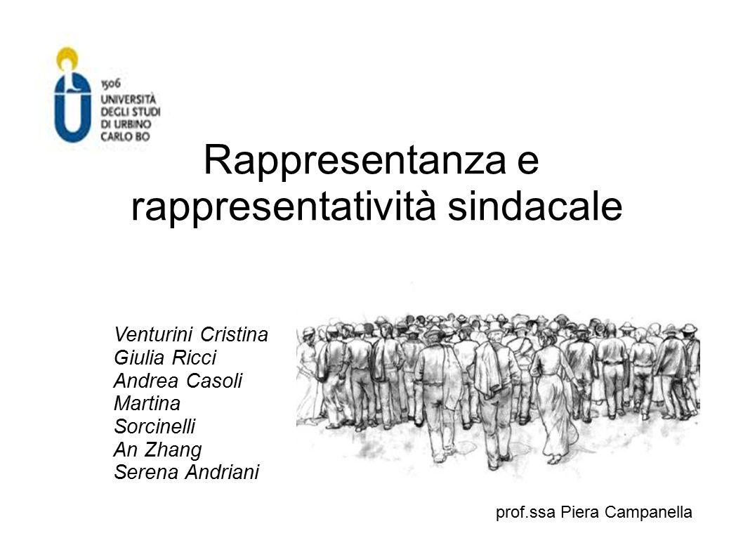 Rappresentanza e rappresentatività sindacale Venturini Cristina Giulia Ricci Andrea Casoli Martina Sorcinelli An Zhang Serena Andriani prof.ssa Piera