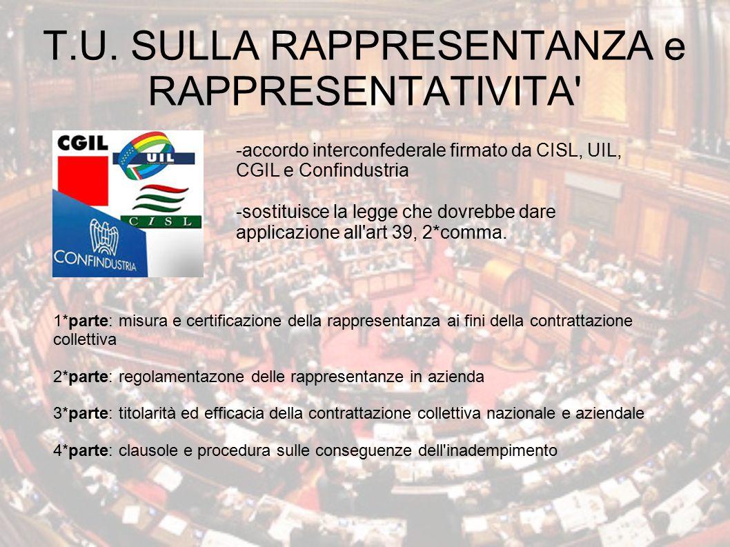 T.U. SULLA RAPPRESENTANZA e RAPPRESENTATIVITA' -accordo interconfederale firmato da CISL, UIL, CGIL e Confindustria -sostituisce la legge che dovrebbe