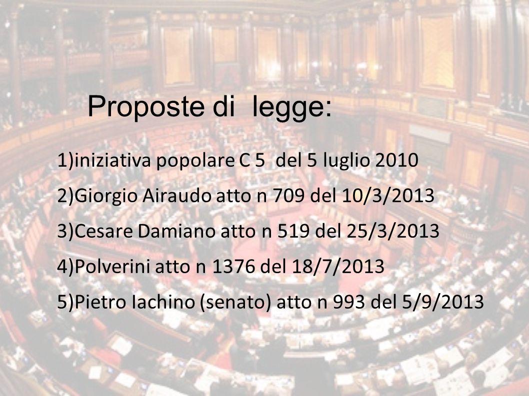 Proposte di legge: 1)iniziativa popolare C 5 del 5 luglio 2010 2)Giorgio Airaudo atto n 709 del 10/3/2013 3)Cesare Damiano atto n 519 del 25/3/2013 4)