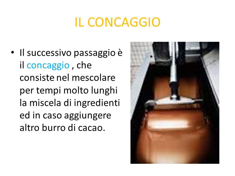 IL CONCAGGIO Il successivo passaggio è il concaggio, che consiste nel mescolare per tempi molto lunghi la miscela di ingredienti ed in caso aggiungere