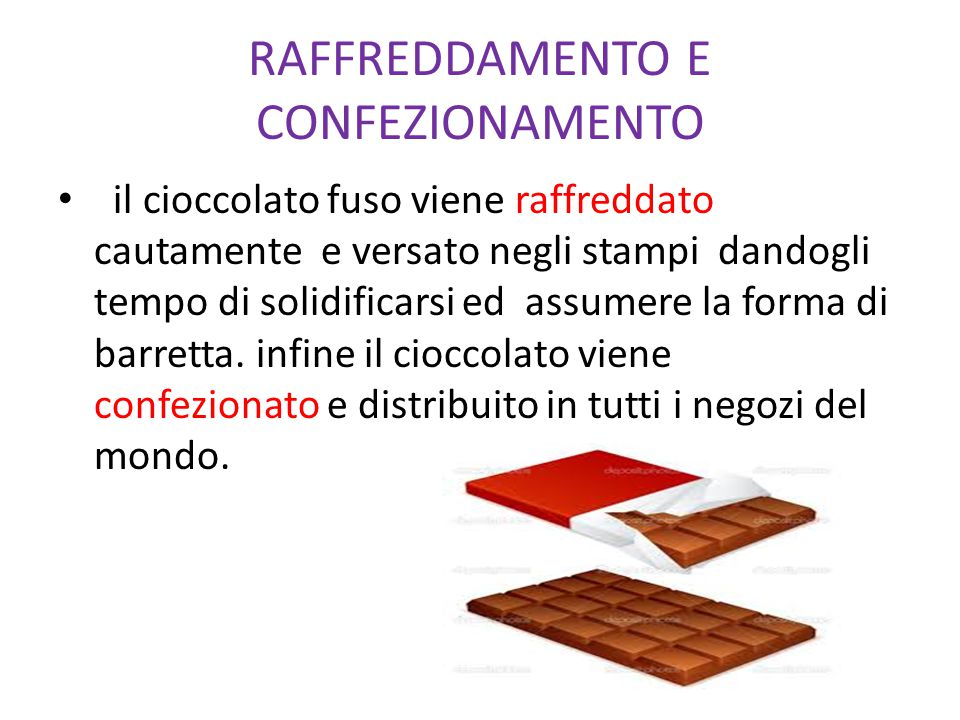 il cioccolato fuso viene raffreddato cautamente e versato negli stampi dandogli tempo di solidificarsi ed assumere la forma di barretta. infine il cio