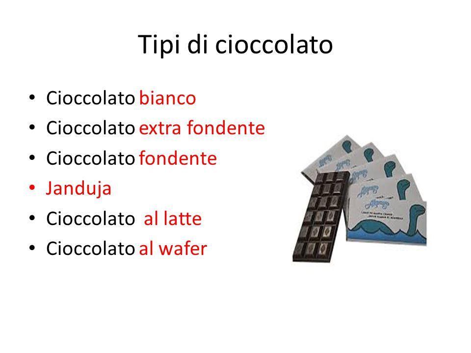 Tipi di cioccolato Cioccolato bianco Cioccolato extra fondente Cioccolato fondente Janduja Cioccolato al latte Cioccolato al wafer