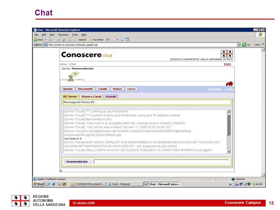 16 ottobre 2006 2 REGIONE AUTONOMA DELLA SARDEGNA Conoscere Campus 15 Chat