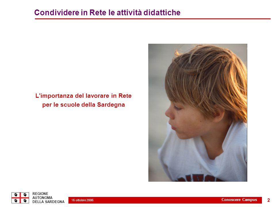 16 ottobre 2006 2 REGIONE AUTONOMA DELLA SARDEGNA Conoscere Campus 2 Condividere in Rete le attività didattiche L importanza del lavorare in Rete per le scuole della Sardegna