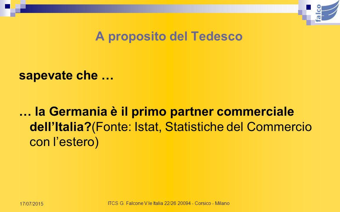 ITCS G. Falcone V.le Italia 22/26 20094 - Corsico - Milano 17/07/2015 EDUCAZIONE LINGUISTICA E FORMAZIONE EUROPEA Ampliamento dell'insegnamento delle