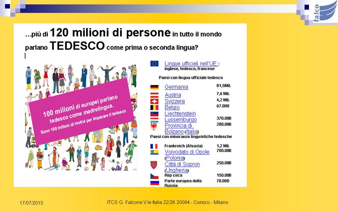 ITCS G. Falcone V.le Italia 22/26 20094 - Corsico - Milano 17/07/2015 A proposito del Tedesco sapevate che … … la Germania è il primo partner commerci