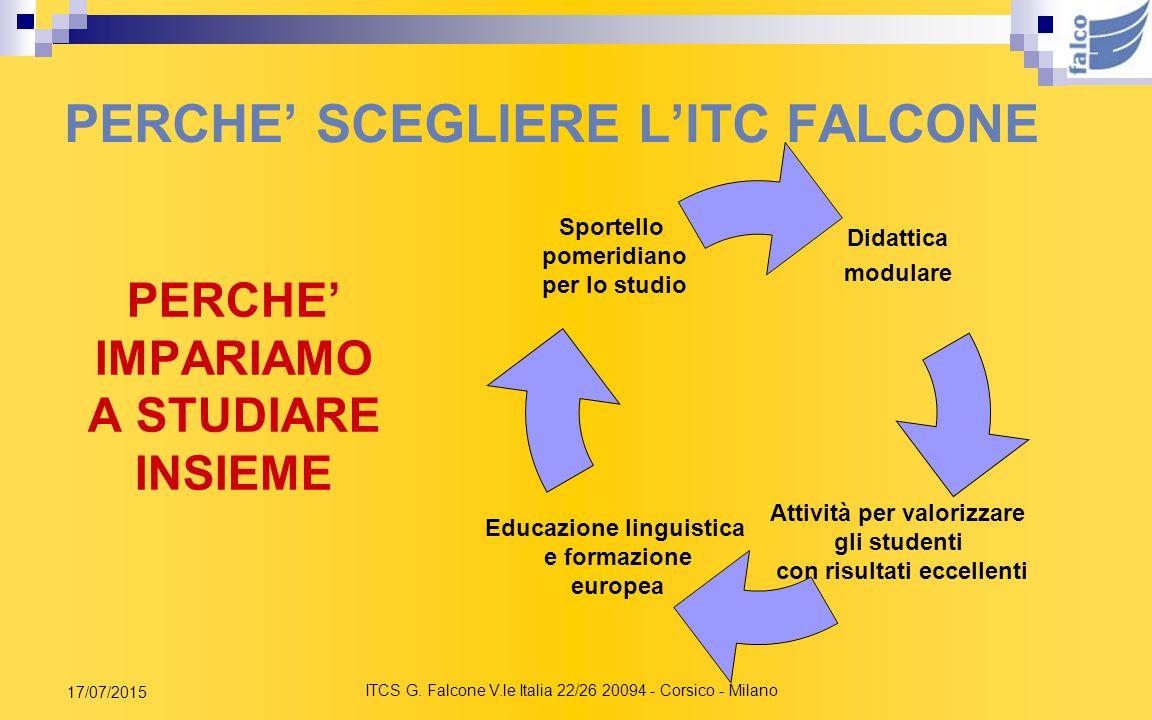 ITCS G. Falcone V.le Italia 22/26 20094 - Corsico - Milano 17/07/2015 Prima di tutto perché lavoriamo con Voi… STIAMO BENE A SCUOLA Educazione alla sa