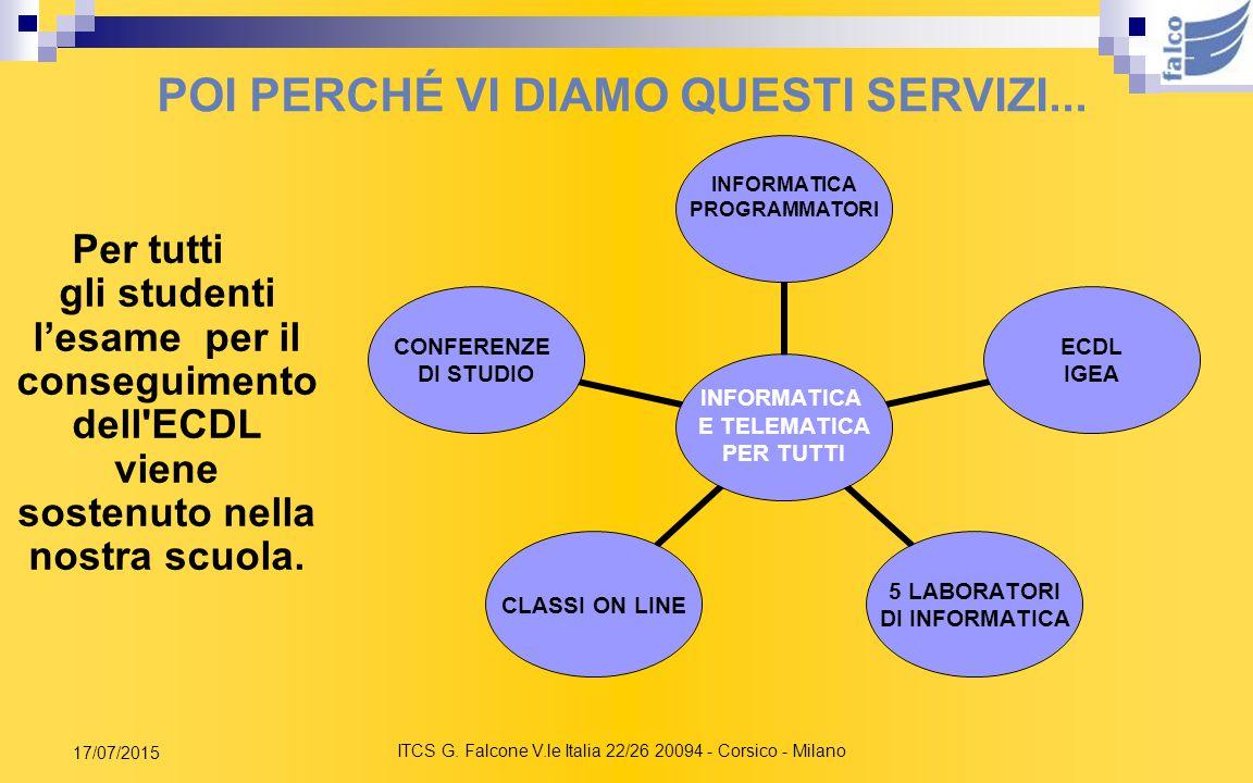 ITCS G. Falcone V.le Italia 22/26 20094 - Corsico - Milano 17/07/2015 PERCHE' SCEGLIERE L'ITC FALCONE PERCHE' IMPARIAMO A STUDIARE INSIEME Didattica m