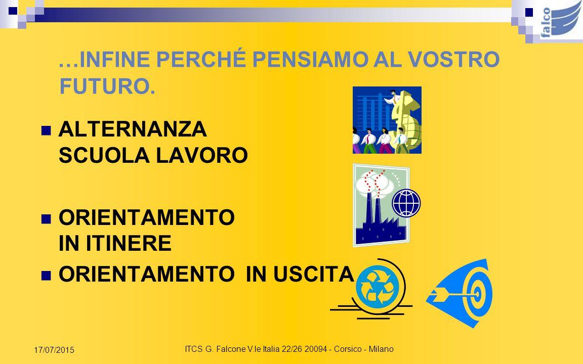 ITCS G. Falcone V.le Italia 22/26 20094 - Corsico - Milano 17/07/2015 E QUESTI ALTRI SERVIZI… SMS REGISTRO ON LINE CLASSI TELEMATICHE Portale www.itcf