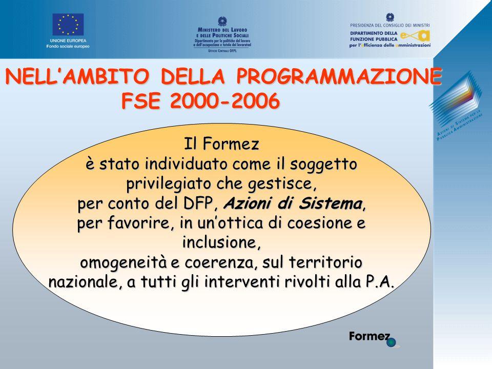 Il Formez è stato individuato come il soggetto privilegiato che gestisce, per conto del DFP, Azioni di Sistema, per favorire, in un'ottica di coesione e inclusione, omogeneità e coerenza, sul territorio nazionale, a tutti gli interventi rivolti alla P.A.