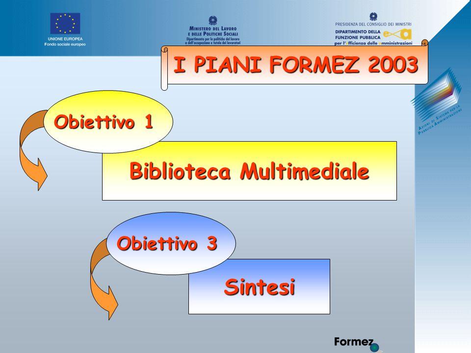I PIANI FORMEZ 2003 Biblioteca Multimediale Obiettivo 1 Sintesi Obiettivo 3