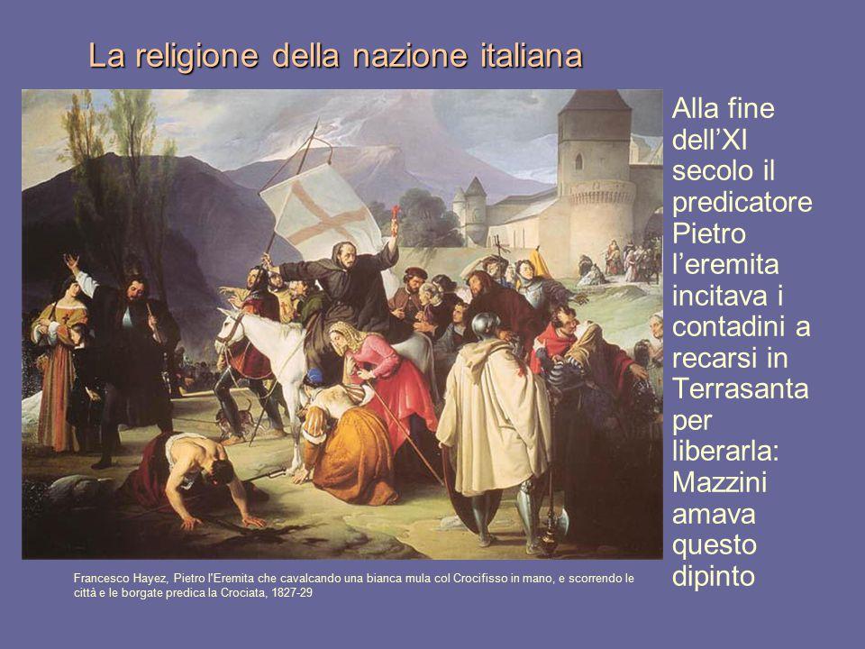 La religione della nazione italiana Francesco Hayez, Pietro l'Eremita che cavalcando una bianca mula col Crocifisso in mano, e scorrendo le città e le