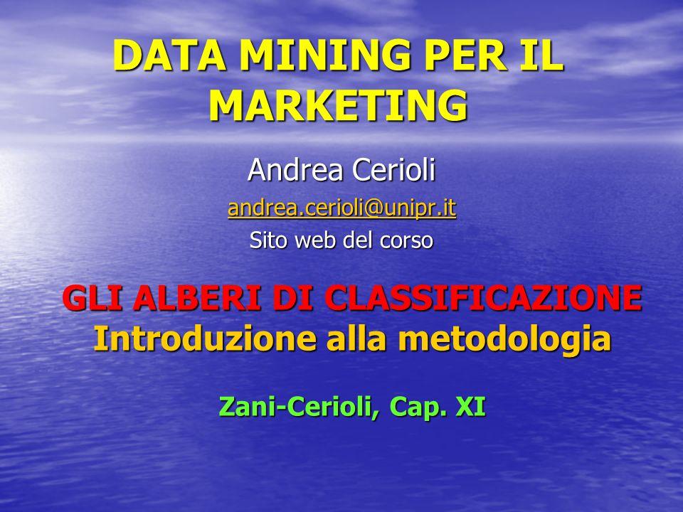 DATA MINING PER IL MARKETING Andrea Cerioli andrea.cerioli@unipr.it Sito web del corso GLI ALBERI DI CLASSIFICAZIONE Introduzione alla metodologia Zani-Cerioli, Cap.