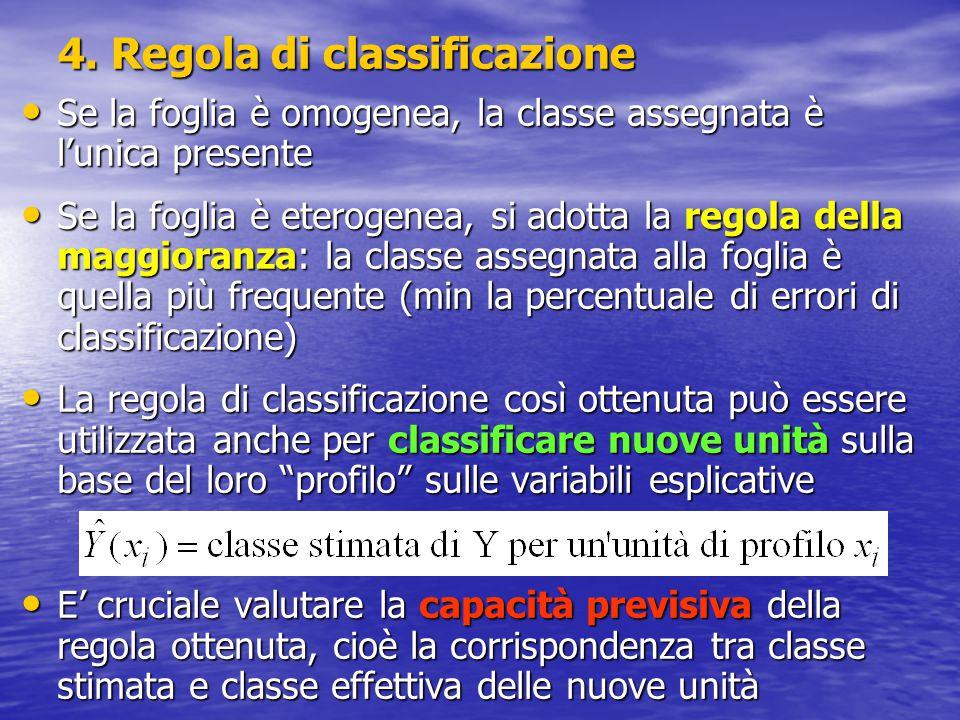 4. Regola di classificazione Se la foglia è omogenea, la classe assegnata è l'unica presente Se la foglia è omogenea, la classe assegnata è l'unica pr